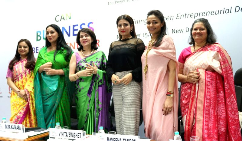 """Actress Raveena Tandon, Jaipur royal Princess Diya Kumari (2nd from Left) during an exclusive panel discussion on """"Can Business be an Agent for change"""" organised by FICCI Ladies ... - Raveena Tandon"""