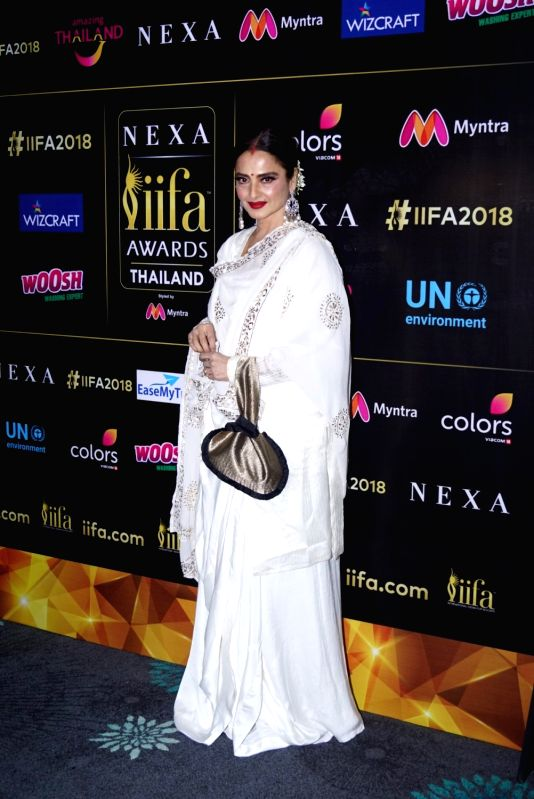 Actress Rekha during a press conference of the 19thEdition of IIFA in Mumbai on June 12, 2018. - Rekha
