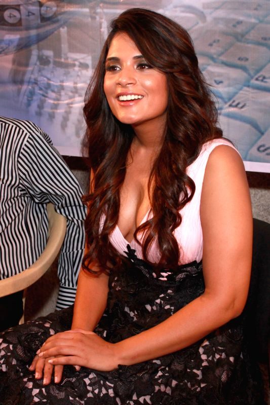 Actress Richa Chadda during a press conference to promote their upcoming film `Main Aur Charles` in Noida, on Oct 27, 2015. - Richa Chadda