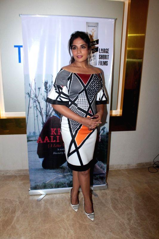 Actress Richa Chadha during the screening of Punjabi short film Khoon Aali Chithi in Mumbai on April 24, 2017. - Richa Chadha