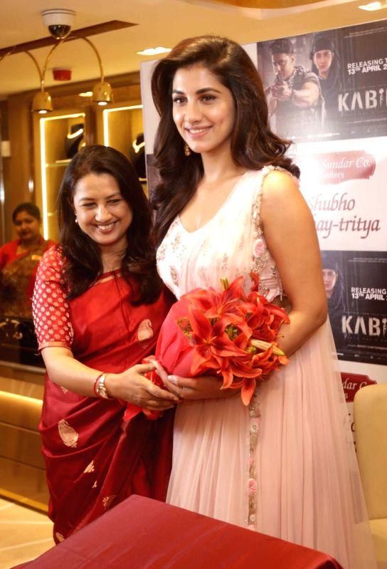 Actress Rukmini Maitra along with Shyam Sunder Co. Jewellary owner Arpita Saha during the launch of Akshaya Tritiya Jewellery Collection in Kolkata on April 12, 2018. - Rukmini Maitra