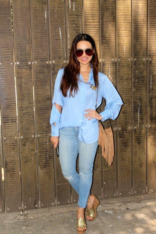 Actress Sana Khan at a studio for the dubbing of film Toilet Ek Prem Katha in Mumbai on May 16, 2017. - Sana Khan
