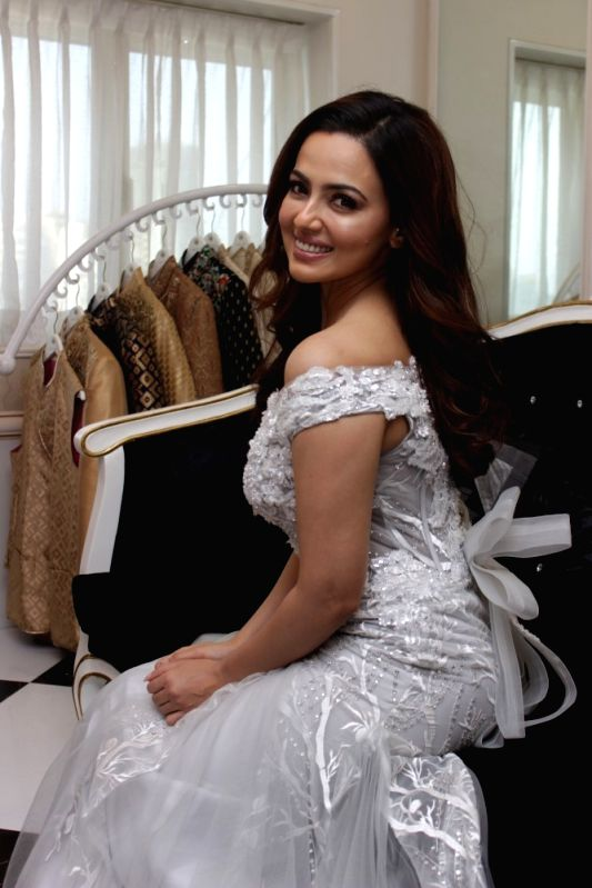 Actress Sana Khan during the summer collection spring summer of Fashion designers Dimple and Amrin collection from London and Paris fashion week in Mumbai on April 21, 2017. - Sana Khan
