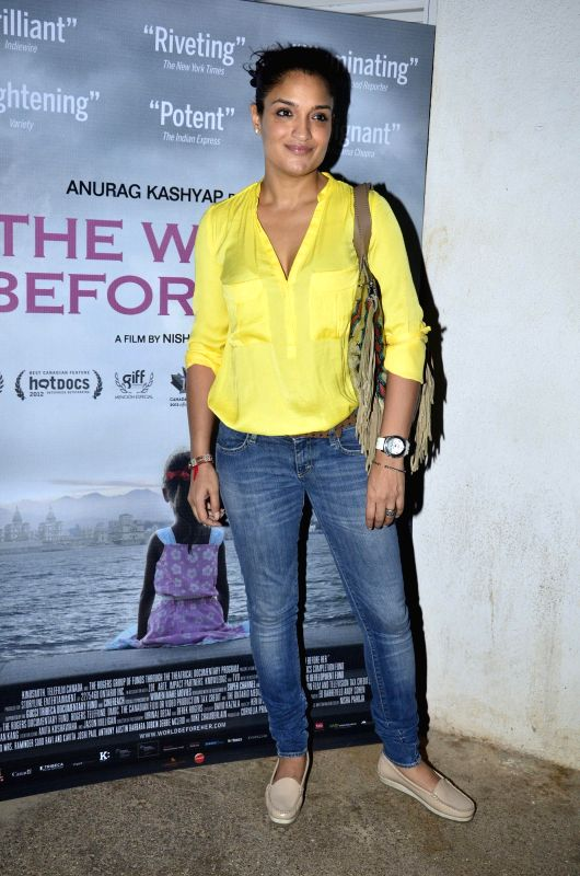 Actress Sandhya Mridul during the first look of documentary film The World Before Her at juhu in Mumbai on 22nd April 2014. - Sandhya Mridul