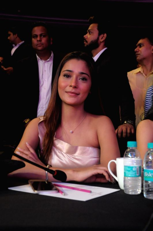 Actress Sara Khan during the grand finale of Mr. & Miss 2018 and Mrs. 2018 India in New Delhi on July 19, 2018. - Sara Khan