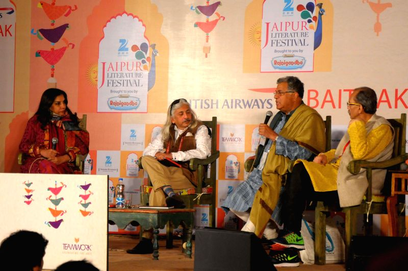 Actress Shabana Azmi, actor-playwright Girish Karnad and Jaipur Literature Festival Producer Sanjoy Roy during the Jaipur Literature Festival in Jaipur, on Jan 22, 2015.