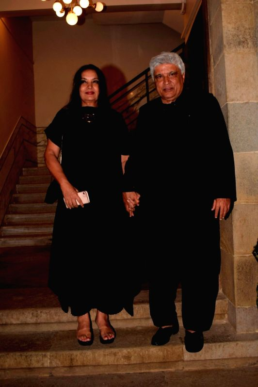 "Actress Shabana Azmi along with her husband Javed Akhtar at the pre-release party of upcoming film ""Karwaan"" in Mumbai on July 26, 2018. - Shabana Azmi"