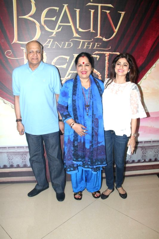 Actress Shamita Shetty along with her parents during Disney India`s Beauty and the Beast musical event, in Mumbai, on May 8, 2016. - Shamita Shetty