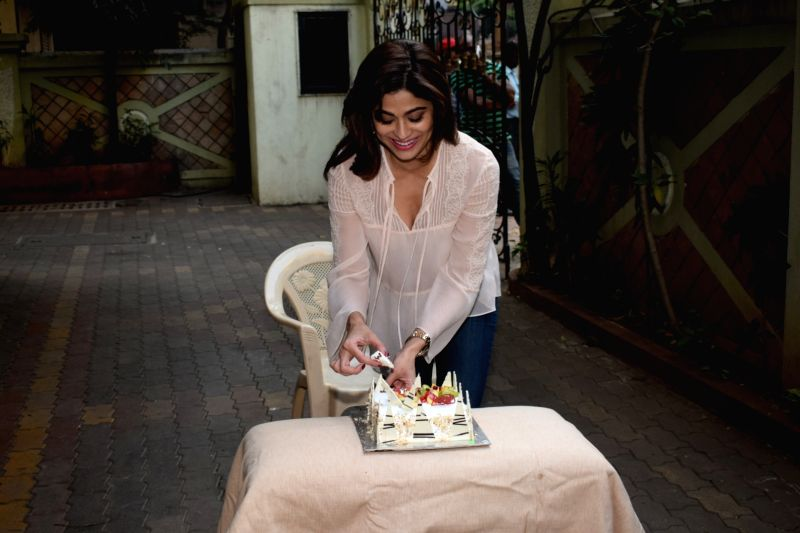 Actress Shamita Shetty celebrates her birthday at her residence in Mumbai on Feb 2, 2018. - Shamita Shetty