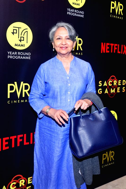 """Actress Sharmila Tagore at the special screening of film """"Sacred Games"""" in New Delhi on July 3, 2018.(Image Source: IANS)"""