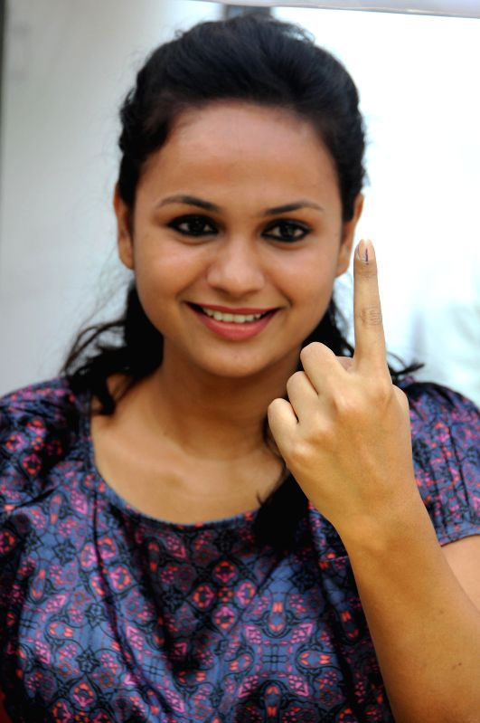 Actress Sheetal Shetty during a voters' awareness programme at Press Club in Bangalore on April 11, 2014. - Sheetal Shetty