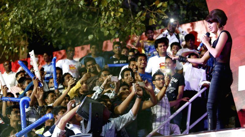 Actress Sherlyn Chopra performs during a match of Hero Hockey India League between Mumbai Magicians and Uttar Pradesh Wizards in Mumbai on Wednesday. - Sherlyn Chopra