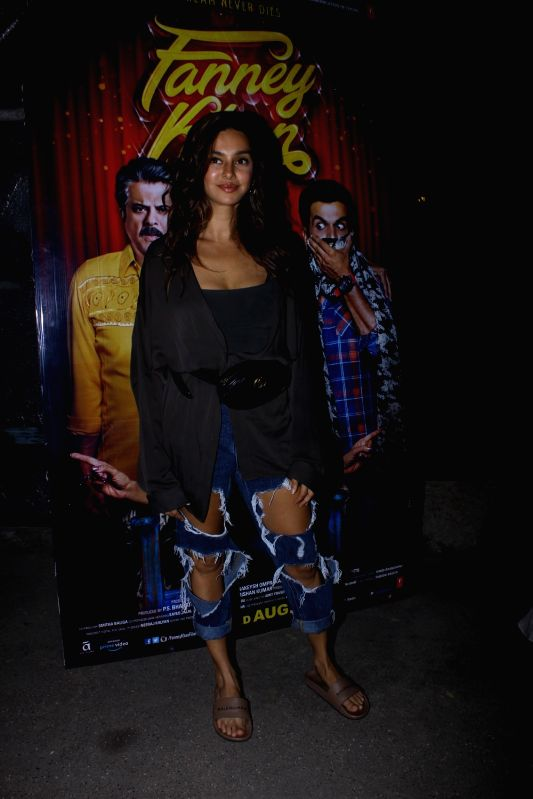 "Actress Shibani Dandekar at the special screening of upcoming film ""Fanney Khan"", in Mumbai on Aug 1, 2018. - Shibani Dandekar and Fanney Khan"
