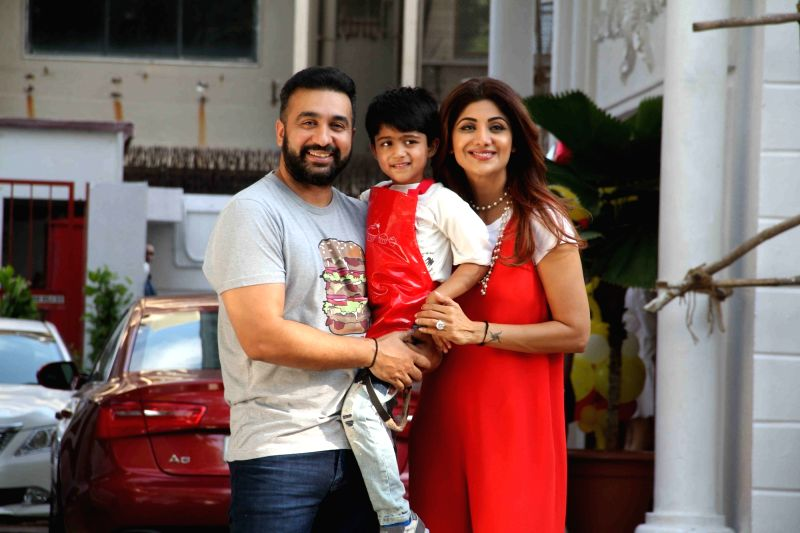 Actress Shilpa Shetty and her husband Raj Kundra during their son Vivaans 5th birthday party in Mumbai, on May 22, 2017. - Shilpa Shetty and Raj Kundra