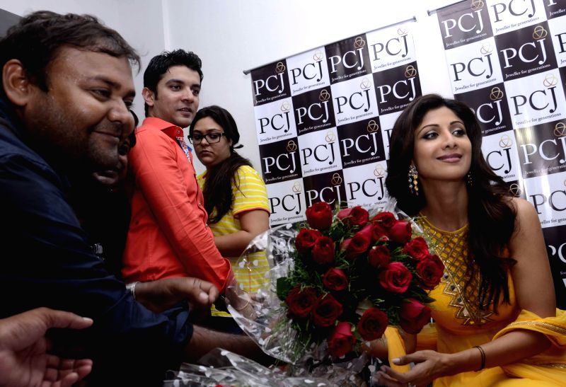Actress Shilpa Shetty during a programme at a jewellery shop in Patna on July 27, 2014.