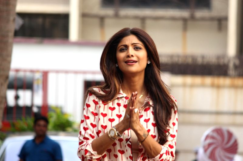 Actress Shilpa Shetty during the birthday celebration of her son Viaan in Mumbai, on May 21, 2016. - Shilpa Shetty
