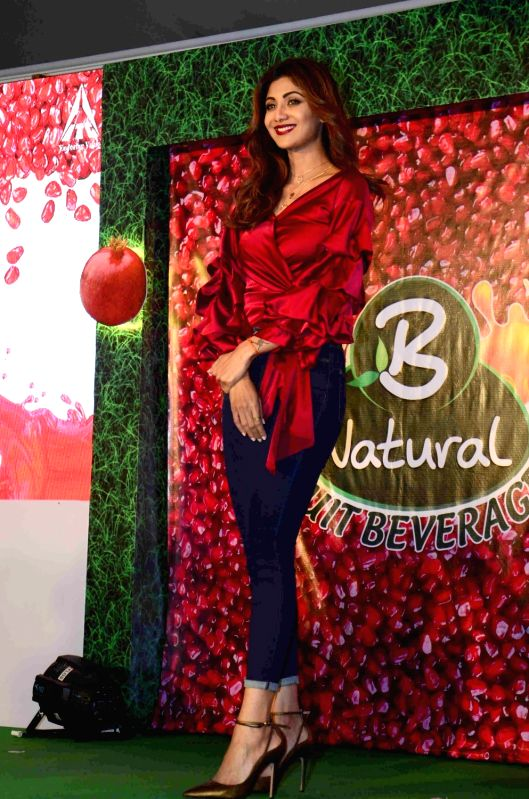 Actress Shilpa Shetty during the launch of ITC's B Natural juice in Mumbai on April 10, 2017. - Shilpa Shetty