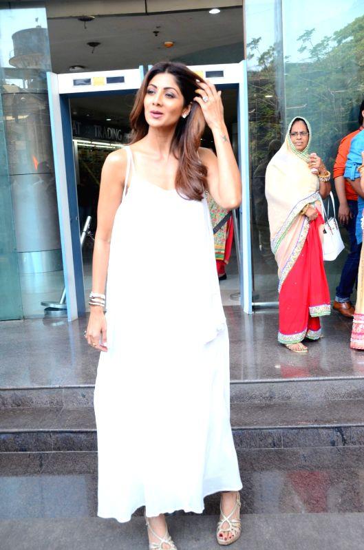 Actress Shilpa Shetty during the launch of makeup artist Ajay Shelar's training academy in Mumbai on April 3, 2017. - Shilpa Shetty