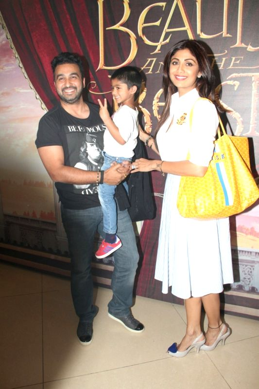 Actress Shilpa Shetty Kundra along with her husband Raj Kundra and son Viaan Raj Kundra during Disney India`s Beauty and the Beast musical event, in Mumbai, on May 8, 2016. - Shilpa Shetty Kundra and Raj Kundra