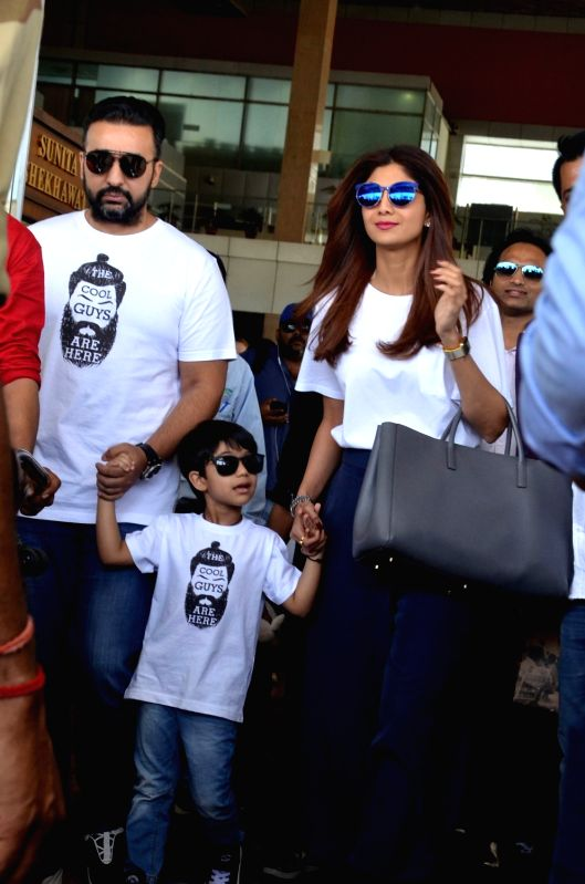 Actress Shilpa Shetty Kundra along with her husband Raj Kundra and son Viaan Raj Kundra arrive at Jaipur International Airport on April 21, 2017. - Shilpa Shetty Kundra and Raj Kundra