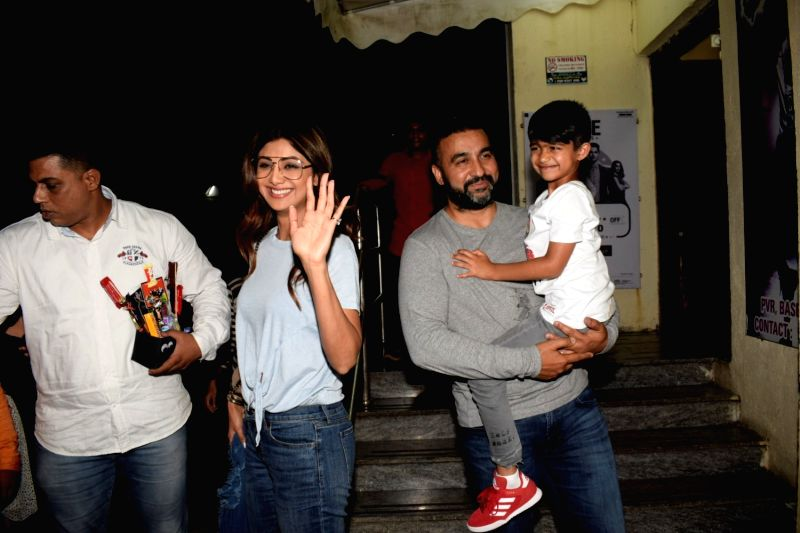 Actress Shilpa Shetty Kundra along with her husband Raj Kundra and son Viaan Raj Kundra seen at a cinema theatre in Juhu, Mumbai on July 24, 2018. - Shilpa Shetty Kundra and Raj Kundra