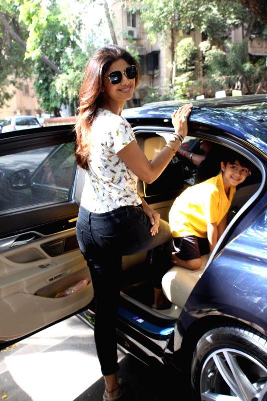 Actress Shilpa Shetty Kundra along with her son Viaan Raj Kundra seen in Mumbai on April 12, 2018. - Shilpa Shetty Kundra and Raj Kundra