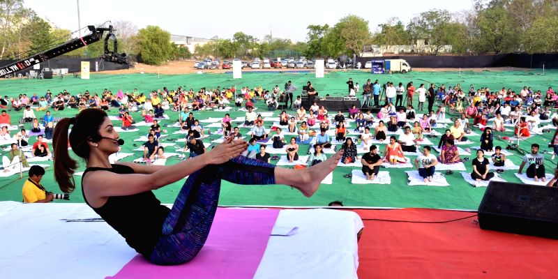 Actress Shilpa Shetty Kundra gives yoga tips during a two day yoga camp at SMS Investment Ground in Jaipur on April 22, 2017. - Shilpa Shetty Kundra