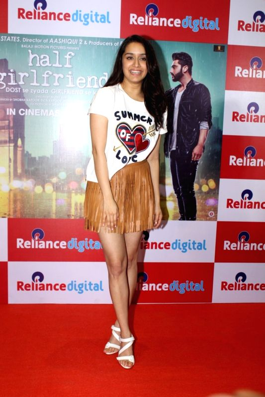 "Actress Shraddha Kapoor during promotions of their upcoming film ""Half Girlfriend"" Reliance Digital in Mumbai on May 19, 2017. - Shraddha Kapoor"