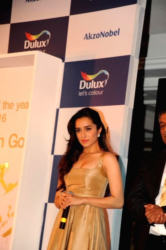 Actress Shraddha Kapoor during the unveiling of AkzoNobel`s Monarch Gold as Colour of the Year 2016 in a Colour Walk in Mumbai on Dec. 2, 2015.