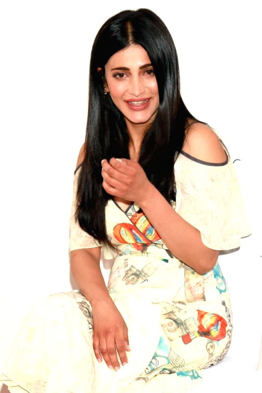 Actress Shruti Haasan during promotions of her forthcoming film `Behen Hogi Teri` in New Delhi, on June 1, 2017. - Shruti Haasan