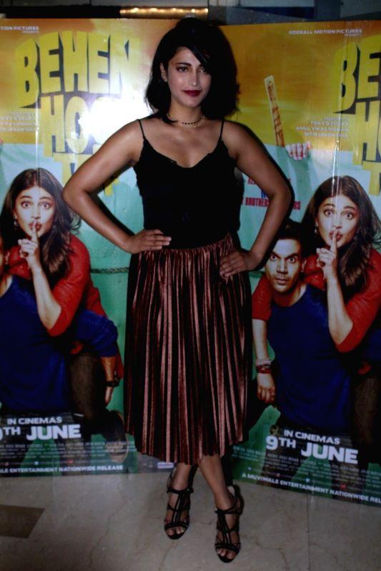 Actress Shruti Haasan during the screening of film Behen Hogi Teri in Mumbai, in Mumbai, on June 7, 2017. - Shruti Haasan
