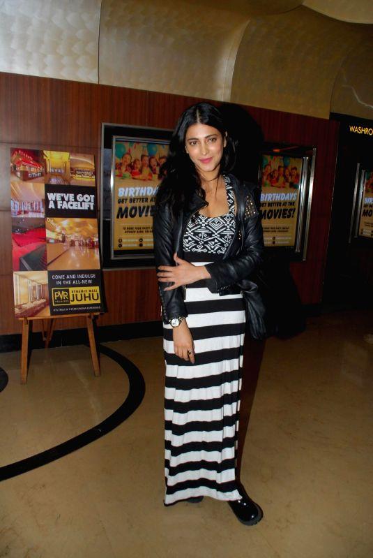 Actress Shruti Haasan during the special screening of film Tevar at Juhu PVR in Mumbai on 13th Jan 2015
