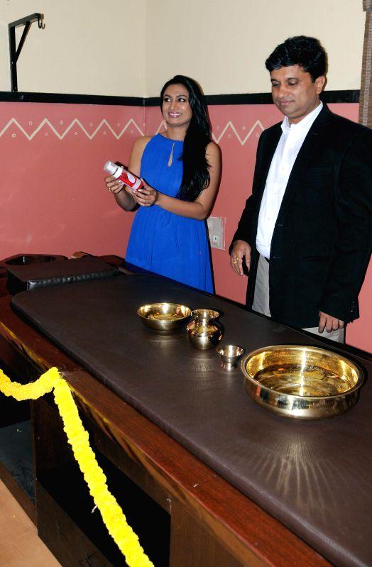 Actress Shwetha Srivatsa during inauguration of 'Shathayu Ayurveda' in Bangalore on May 4, 2014. - Shwetha Srivatsa