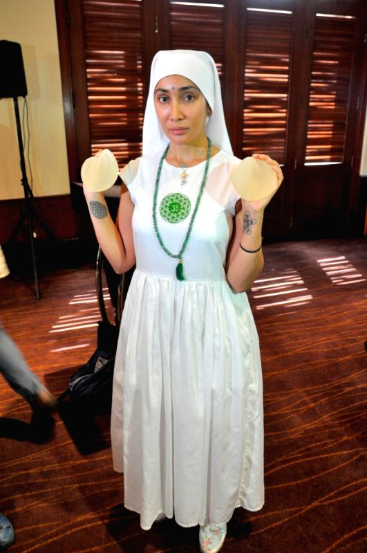 Actress Sofia Hayat during a press conference in Mumbai, on June 3, 2016. The model-turned actress converted herself to nun Gaia Mother Sofia. - Sofia Hayat