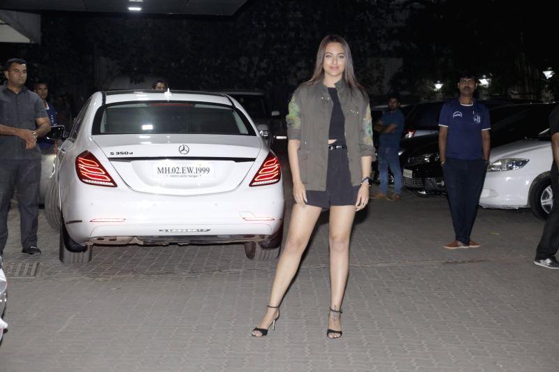 Actress Sonakshi Sinha arrives at the birthday party of actor Sohail Khan's son Nirvaan Khan in Mumbai, on Dec 15, 2018. - Sonakshi Sinha, Sohail Khan and Nirvaan Khan