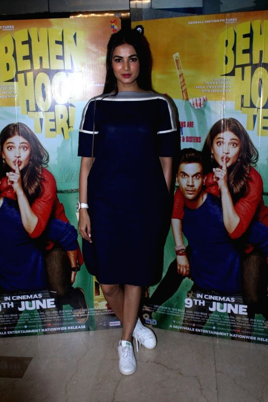 Actress Sonal Chauhan during the screening of film Behen Hogi Teri in Mumbai, in Mumbai, on June 7, 2017. - Sonal Chauhan