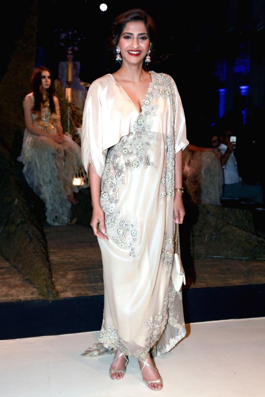 Actress Sonam Kapoor at fashion designer Anamika Khanna`s show during the India Couture Week 2016, in New Delhi on July 22, 2016. - Sonam Kapoor and Anamika Khanna