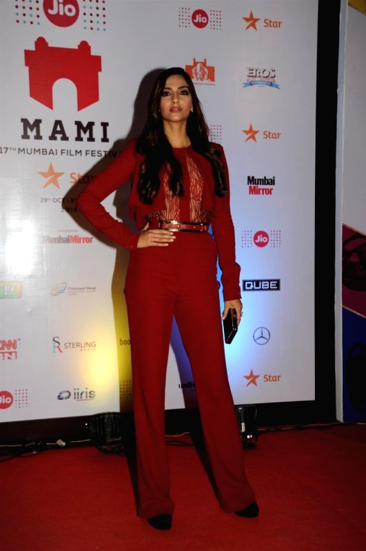 Actress Sonam Kapoor at the 2nd day of Jio MAMI 17th Mumbai Film Festival in Mumbai on Oct 31, 2015. - Sonam Kapoor