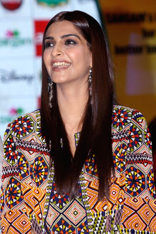 Actress Sonam Kapoor  at the launch of Mascot of `Sangam` - a CSR of Arise in New Delhi on Sept 4, 2014. - Sonam Kapoor