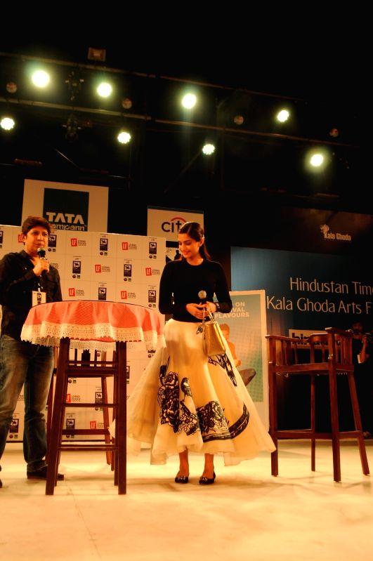 Actress Sonam Kapoor attends Kala Ghoda Arts Festival 2016, in Mumbai on February 9, 2016.
