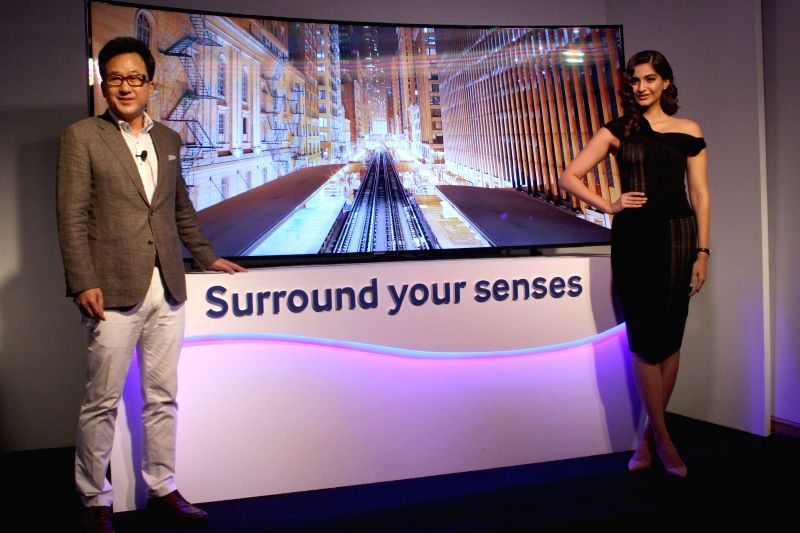 Actress Sonam Kapoor during launch of Samsung's Curved television in New Delhi on May 7, 2014.