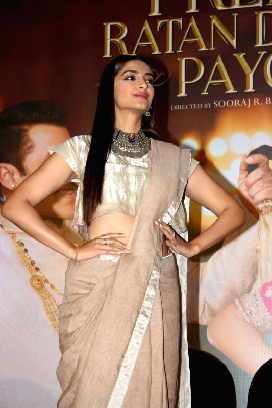Actress Sonam Kapoor during the press conference organised to thank the audience for the love and support they have shown for the film Prem Ratan Dhan Payo in Mumbai on Nov 16, 2015. - Sonam Kapoor