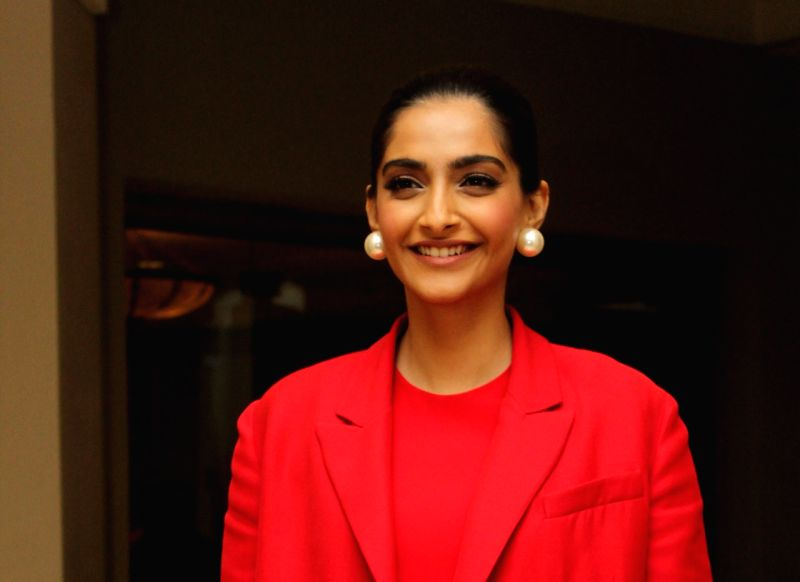 "Actress Sonam Kapoor during the promotions of her upcoming film ""The Zoya Factor"" in Mumbai"