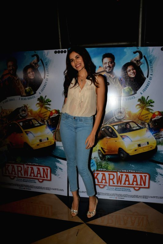"Actress Sonnalli Seygall at the special screening of upcoming film ""Karwaan"", in Mumbai on Aug 2, 2018. - Sonnalli Seygall"