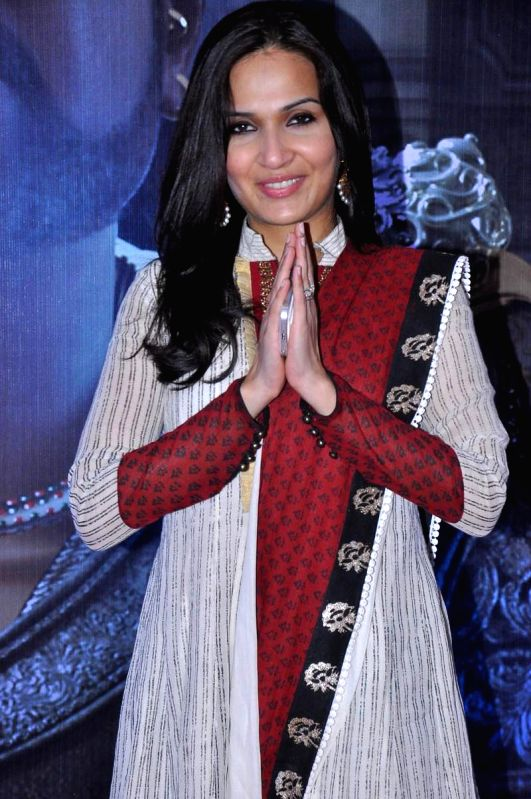 Actress Soundarya during Vikrama Simha (Kochadaiyaan in Tamil) audio release function held at Imox of Hyderabad on Saturday night. - Soundarya