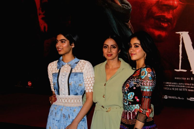 "Actress Sridevi along with her daughters Khushi Kapoor and Jahnavi Kapoor during the trailer launch of their upcoming film ""Mom"" in Mumbai, on June 3, 2017. - Sridevi, Khushi Kapoor and Jahnavi Kapoor"