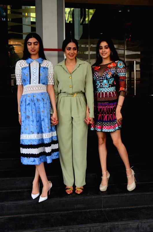 """Actress Sridevi along with her daughters Khushi Kapoor and Jahnavi Kapoor during the trailer launch of their upcoming film """"Mom"""" in Mumbai, on June 3, 2017. - Sridevi, Khushi Kapoor and Jahnavi Kapoor"""
