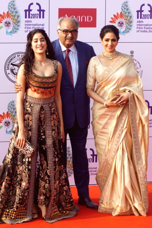 Actress Sridevi along with her husband Boney Kapoor and daughter Janhvi Kapoor during the opening ceremony of 48th edition of International Film Festival of India (IFFI) - 2017 in Goa on Nov 20, ... - Sridevi and Janhvi Kapoor