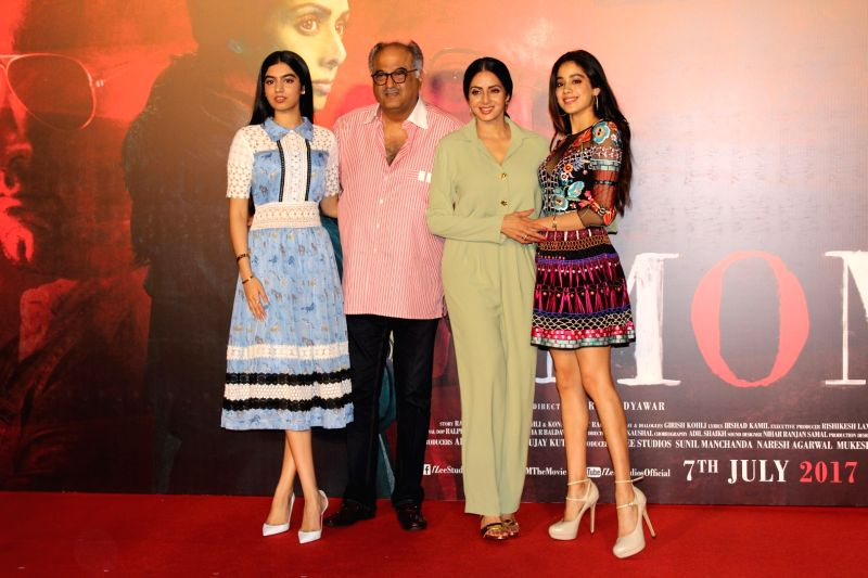 "Actress Sridevi and producer Boney Kapoor along with their daughter Khushi Kapoor and Jahnavi Kapoor during the trailer launch of their upcoming film ""Mom"" in Mumbai, on June 3, ... - Sridevi, Khushi Kapoor and Jahnavi Kapoor"
