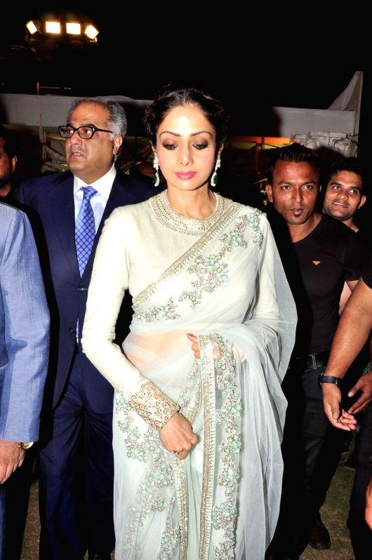 Actress Sridevi during the wedding reception of actress Jayaprada`s son Siddharth with Pravallika Reddy in Hyderabad. - Sridevi and Pravallika Reddy